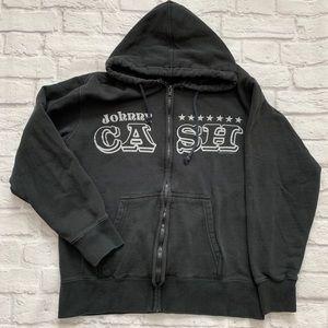 Johnny Cash Black Stars Hoodie Sweater medium